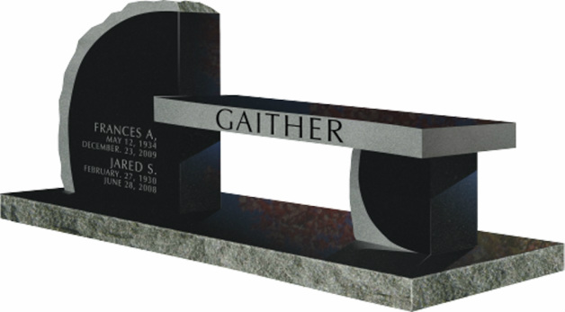 Model Sd 006 Gaither Granite Memorial Bench Quote Gravestones And Memorials Quality Memorial