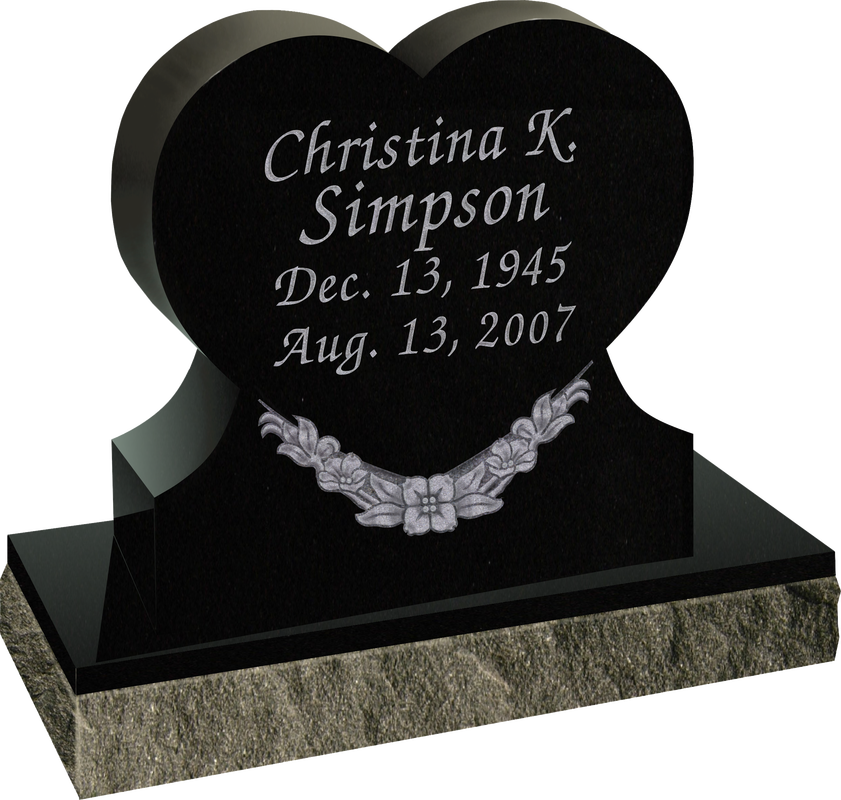 Sd 112ab Upright Heart Shaped Memorial Quote Gravestones