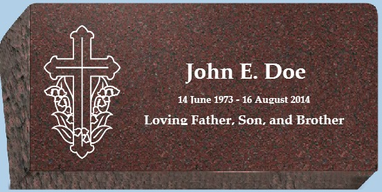 Affordable Red Bevel Flat Marker 24x12x6-4 - Gravestones and